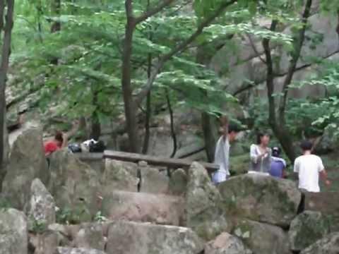 Party at Pakyon Falls, North Korea