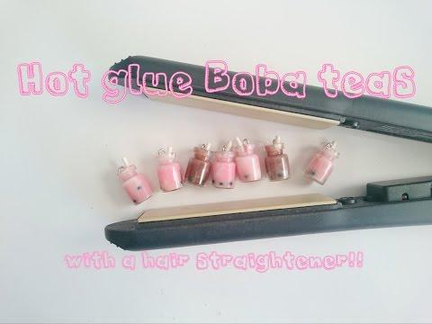 Miniature bottle: Hot glue Boba tea