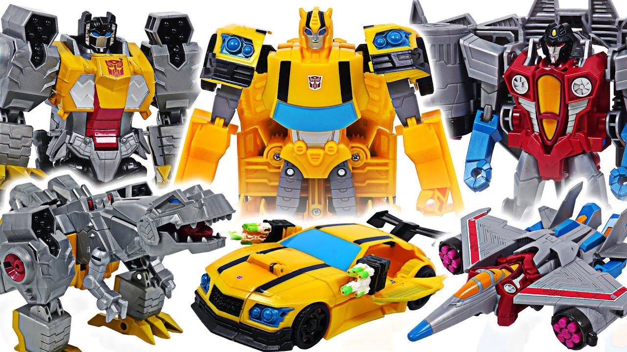 Transformers Cyberverse ultra class Autobot Bumblebee, Grimlock VS Starscream! #DuDuPopTOY