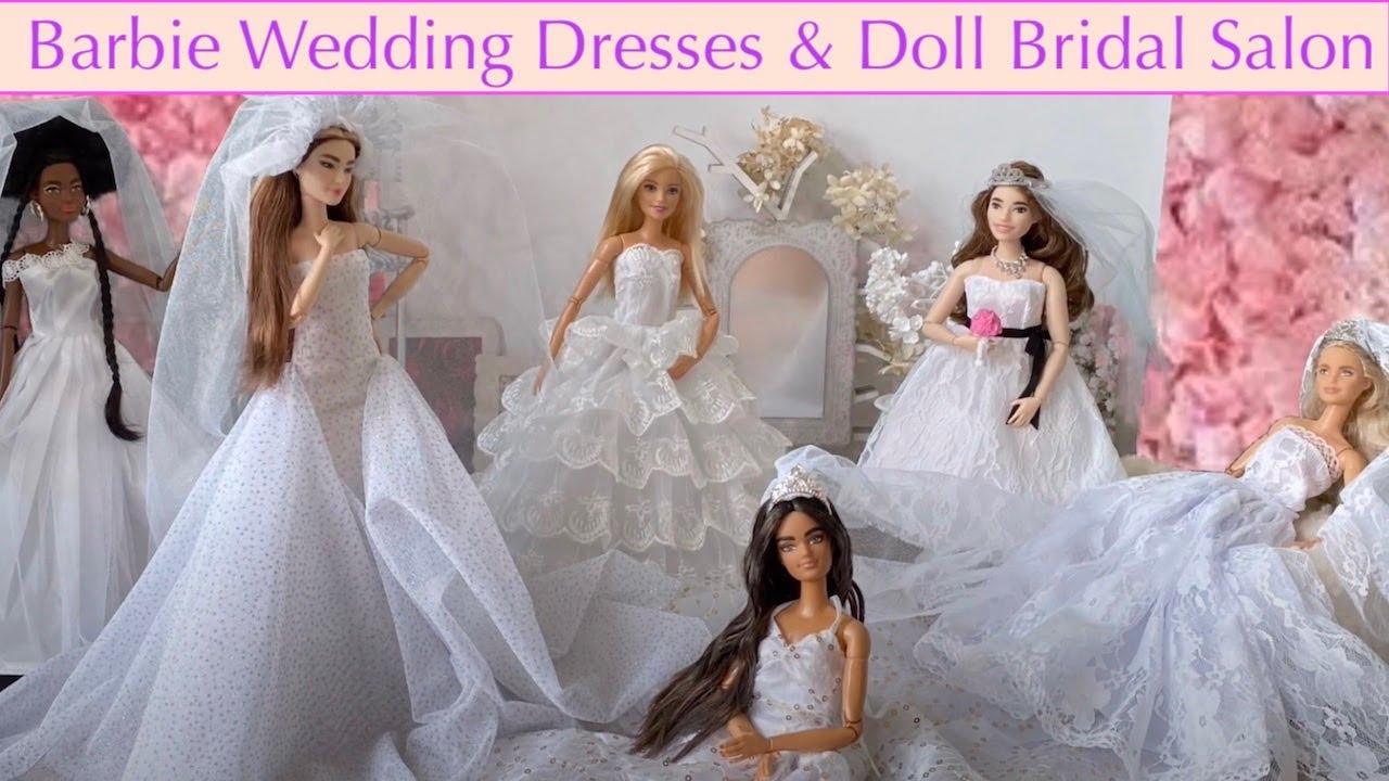 BARBIE WEDDING DRESS BRIDAL GOWN REVIEW AND DOLL BRIDAL SALON DIORAMA