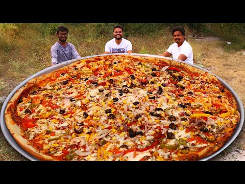 Giant Pizza Recipe | Amazing Veg Pizza Cooking By Our Grandpa Kitchen
