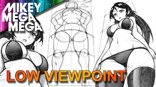 How To Draw LOW ANGLE PERSPECTIVE FORESHORTENING FEMALE ANIME MANGA