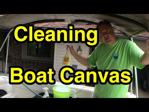 Cleaning mold from Sunbrella boat canvas Boating Vlog Episode 2