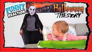 Ghostface Woman Vs Baby Giulia - Funny Halloween Story Scream - Reaction to surprise-Bonus Skeleton