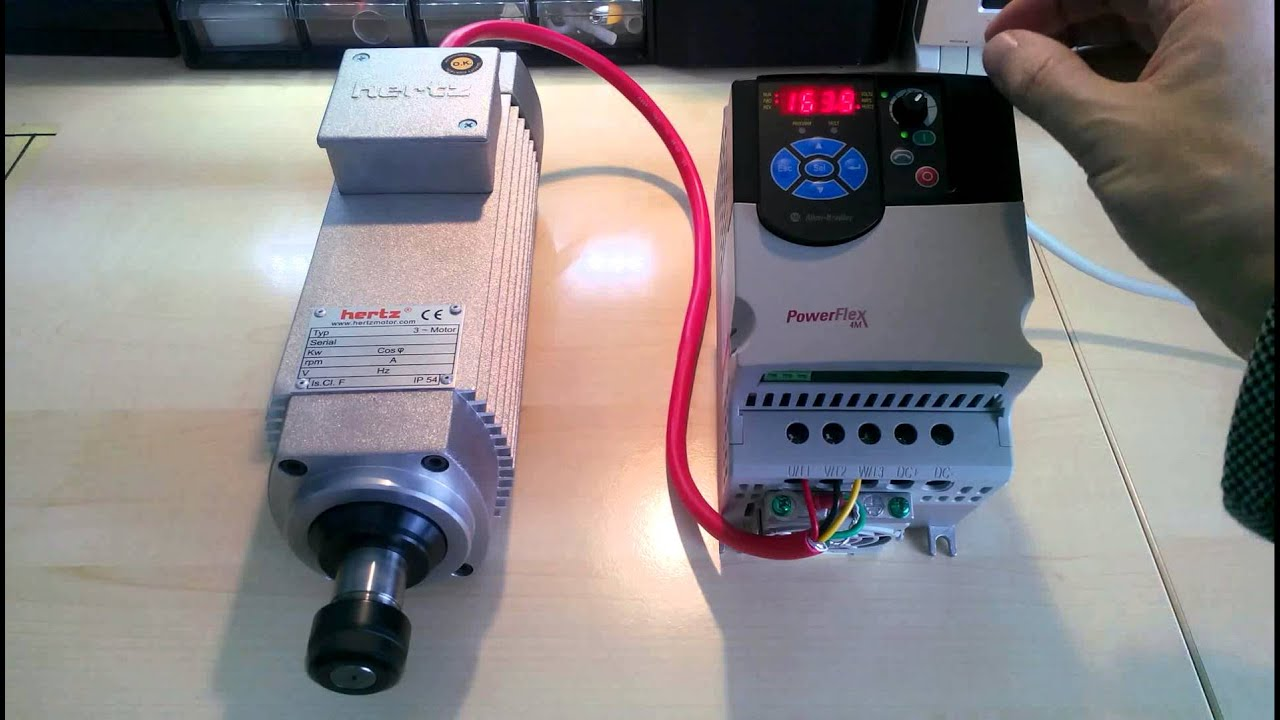 22 Kw Hertz Spindle Motor Test Connected To Powerflex 4M Inverter  YouTube