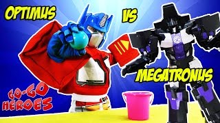 OPTIMUS PRIME and MEGATRONUS are playing together Superheroes in real life Video for kids