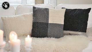 DIY - Kissen aus Strick-Pullover nähen   TRICK &TIPP für das Nähen von elastischen Stoffen