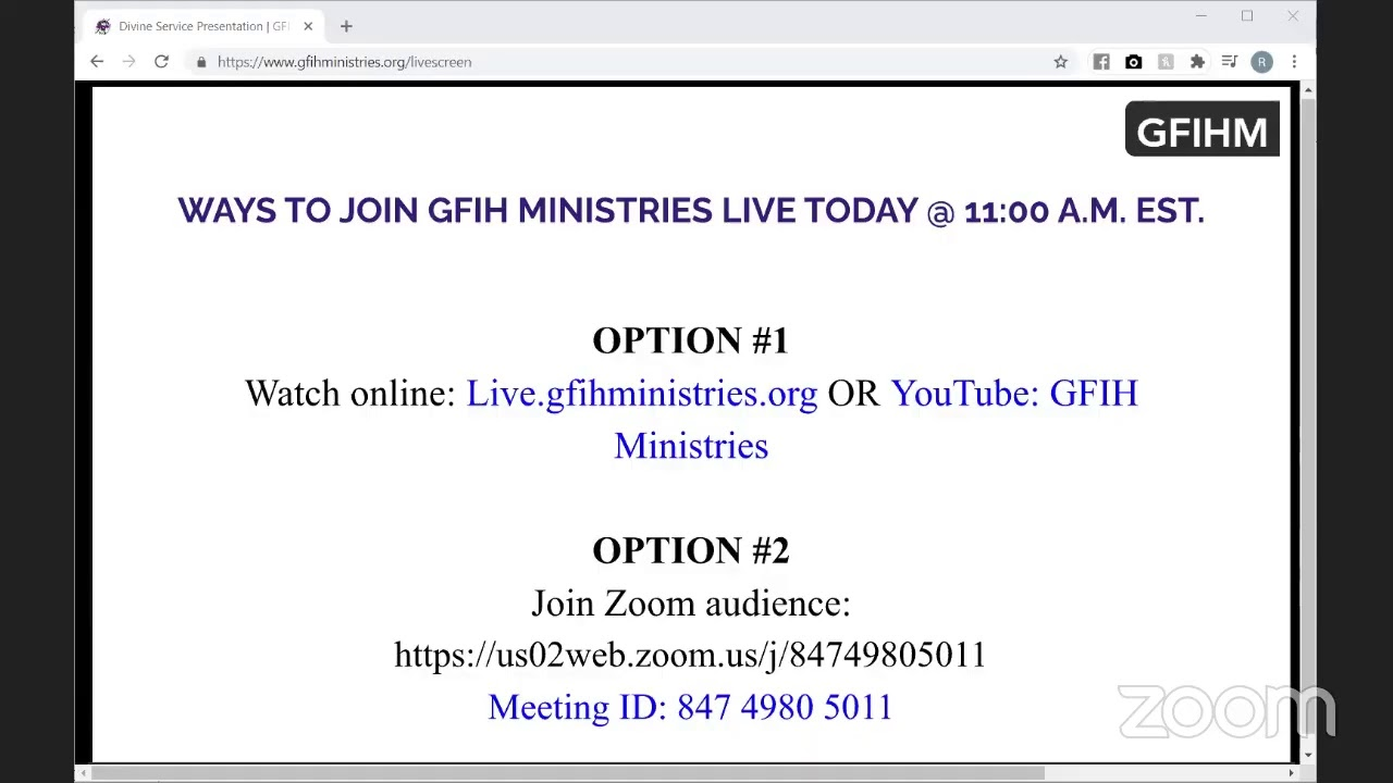 G.F.I.H Ministries   APOSTLE D. FORDYCE   Today's Speaker: Pastor Clive Boothe - God's In The Midst