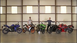 Honda CBR300R vs Kawasaki Ninja 400 vs KTM RC390 vs Suzuki GSX250R vs Yamaha YZF-R3 | On Two Wheels