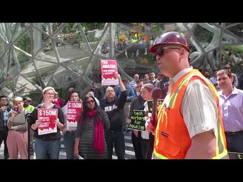 Raw Video: Clash at Amazon HQ over Seattle tax plan