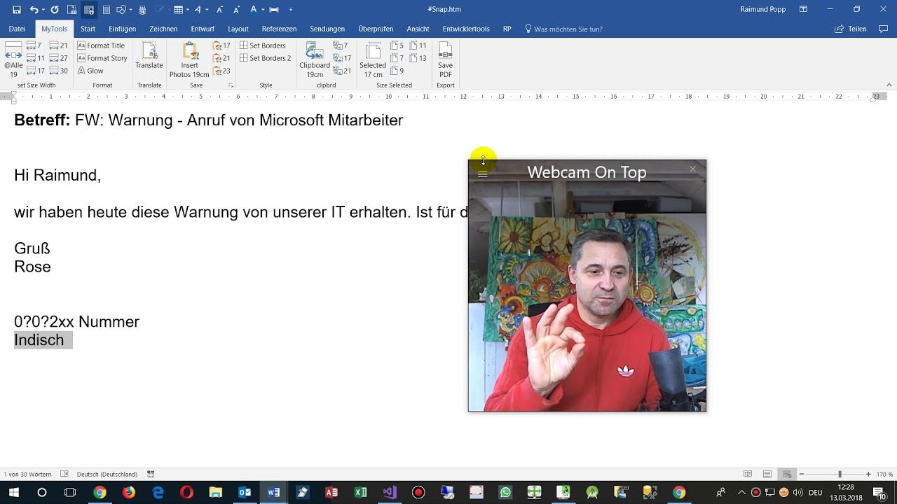 Microsoft Mitarbeiter Ruft An