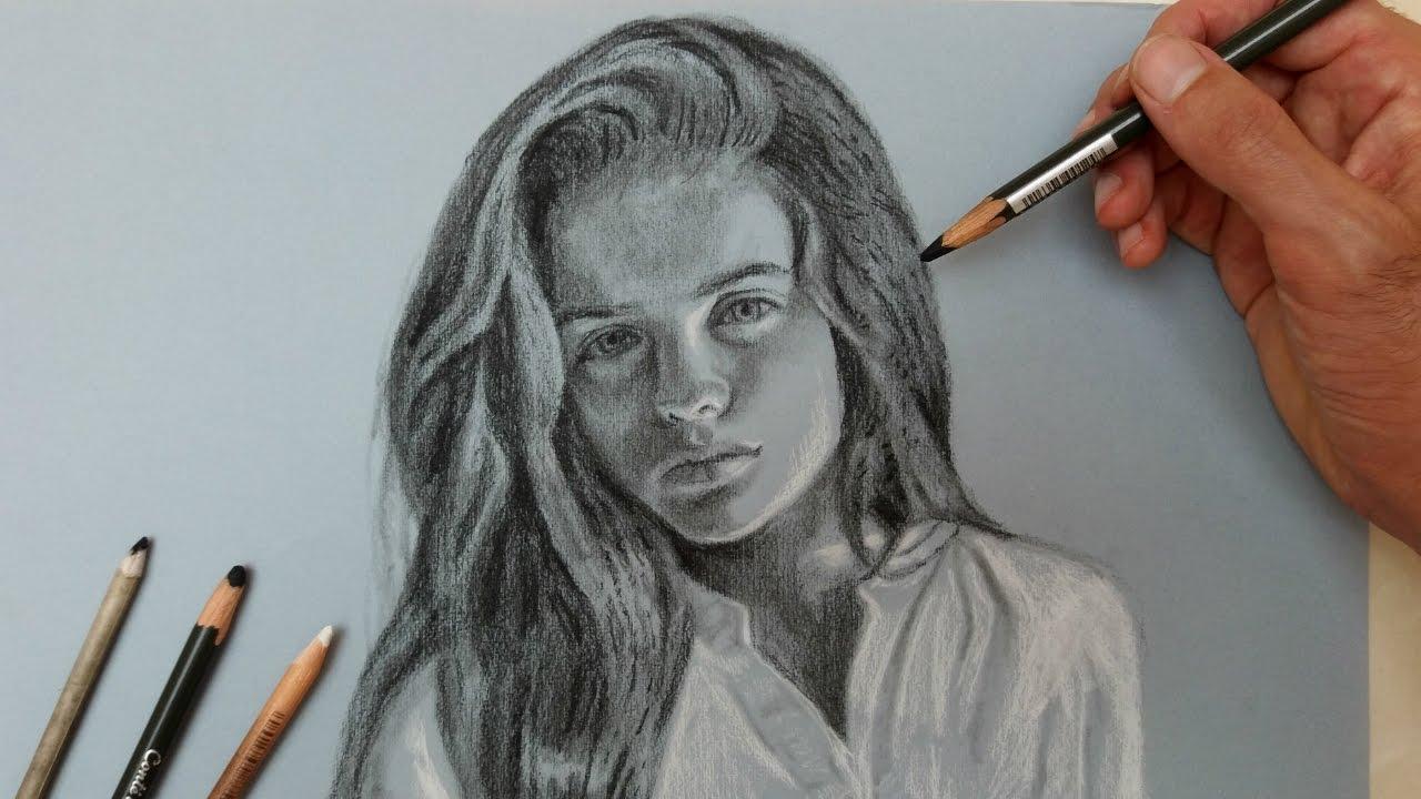 Desenho Realista Com Lapis Carvao Rosto Feminino Youtube