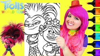 Coloring Poppy & Queen Barb Trolls 2 World Tour Coloring Page Prismacolor Markers | KiMMi THE CLOWN