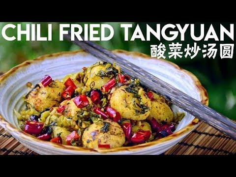 fried-tangyuan-rice-balls-with-suancai-and-chili-(酸菜炒汤圆)