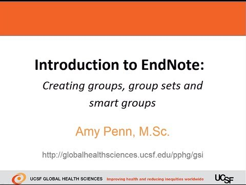 Introduction to EndNote - Creating groups, group sets and smart groups