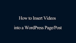 How to insert Videos into a WordPress Page/Post thumbnail