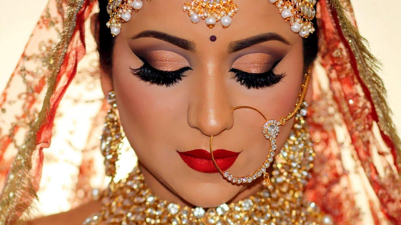 winter wedding day skin care and indian bridal makeup tutorial (hindi/ हिन्दी)