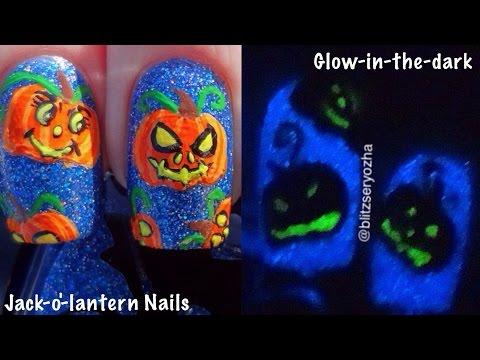 Glow-in-the-Dark Jack-o'-Lantern Nail Art Tutorial