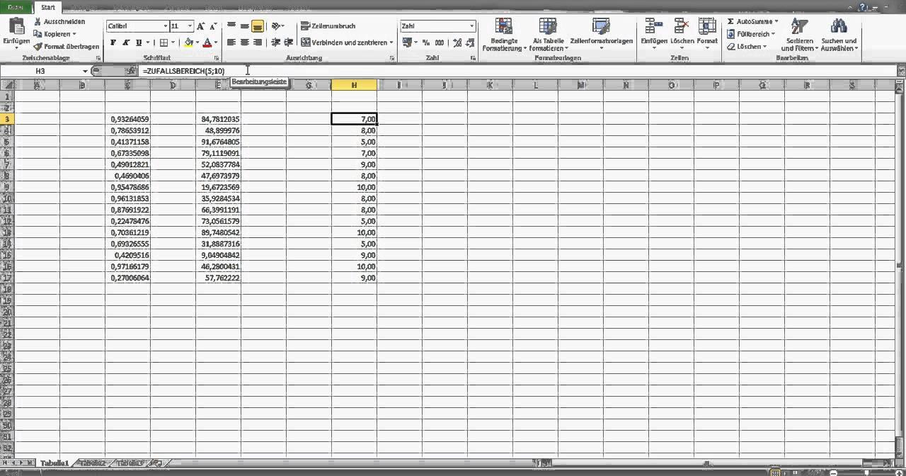 Zufallszahlen In Excel Erstellen