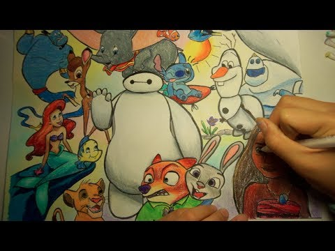 Disney Collage Drawing Colored Pencil Youtube