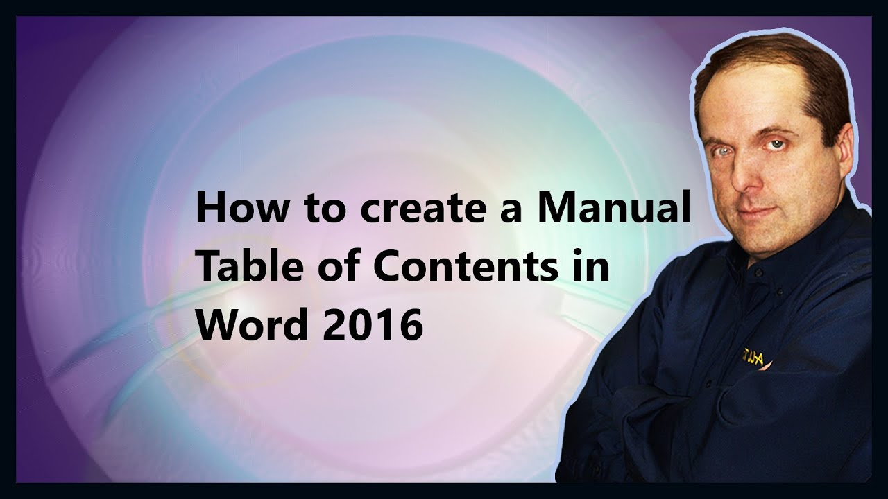 how to create a manual table of contents in word 2016 youtube
