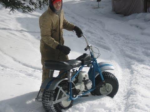 Super Bronc Vintage Mini Trail Bike in the Snow Heald Motorcycle