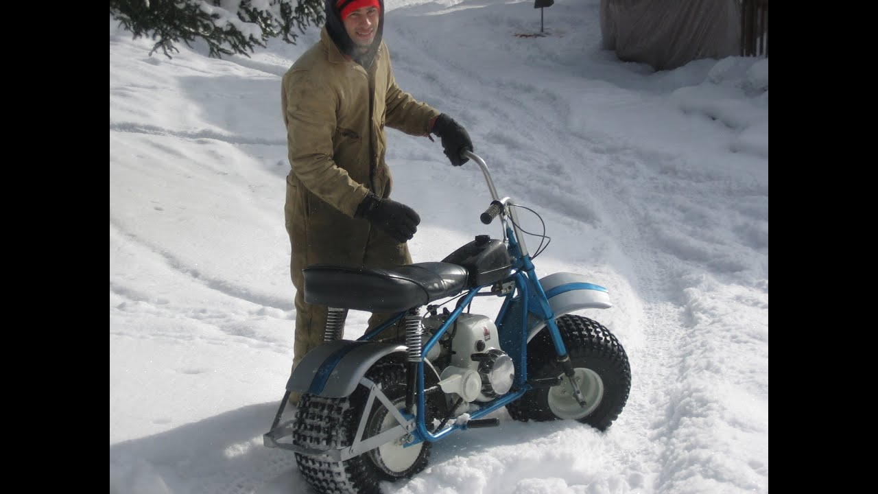 Super Bronc Vintage Mini Trail Bike In The Snow Heald Motorcycle