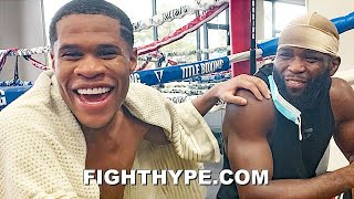 DEVIN HANEY CLOWNS WITH DENIS DOUGLIN ABOUT SPARRING; LAUGHS AT HIM FOR CALLING MOM FOR PERMISSION