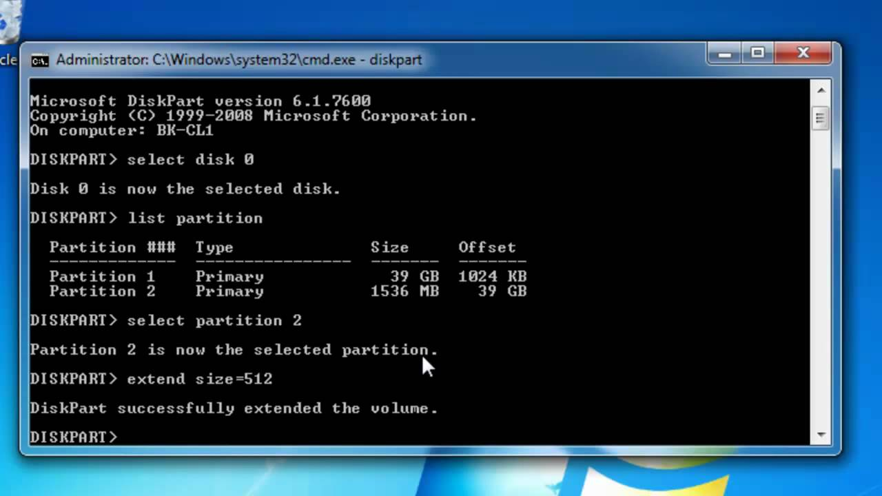 Extend A Windows 7 Partition Using Both Diskpart And Disk