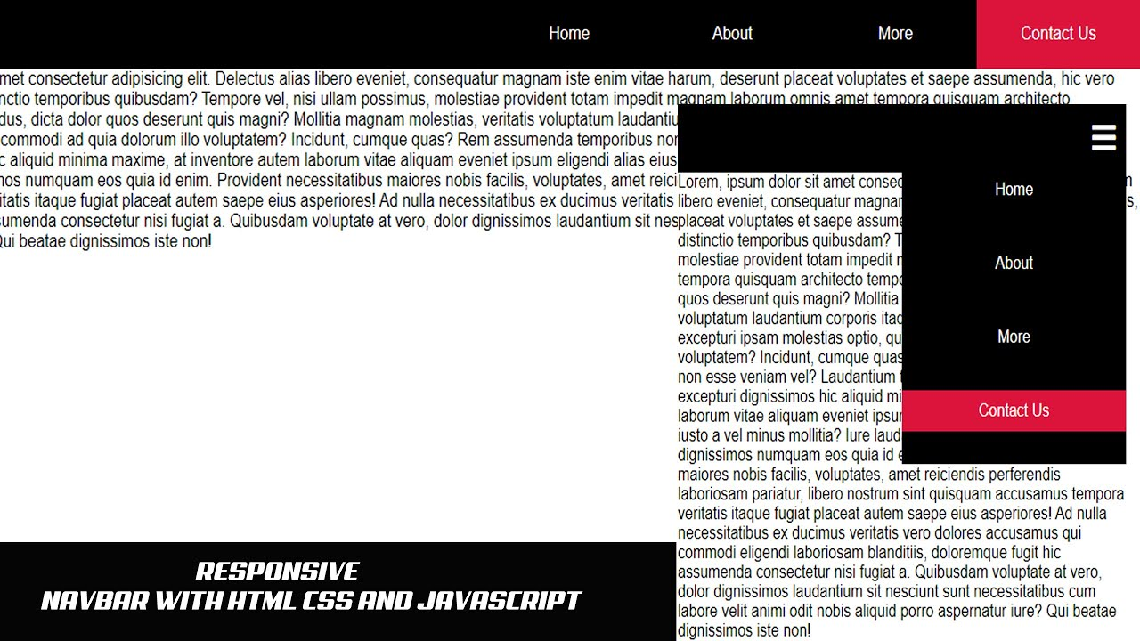 Responsive navigation bar with html css and javascript
