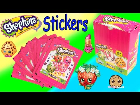 4 Shopkins Season 1 & 2 STICKERS Blind Bag PACKS Collection Box Unboxing Video Cookieswirlc