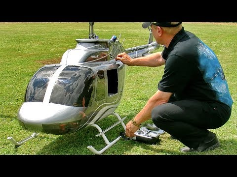 GIGANTIC XXXL RC JETRANGER BELL-206 SEMI SCALE MODEL HELICOPTER FLIGHT DEMONSTRATION