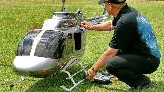 GIGANTIC XXXL RC JETRANGER BELL-206 SEMI SCALE MODEL HELICOPTER FLIGHT DEMONSTRATION thumbnail