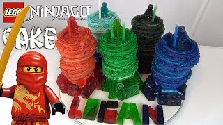 LEGO NINJAGO cake! How to make The Masters of Spinjitzu and Gummy Legos!
