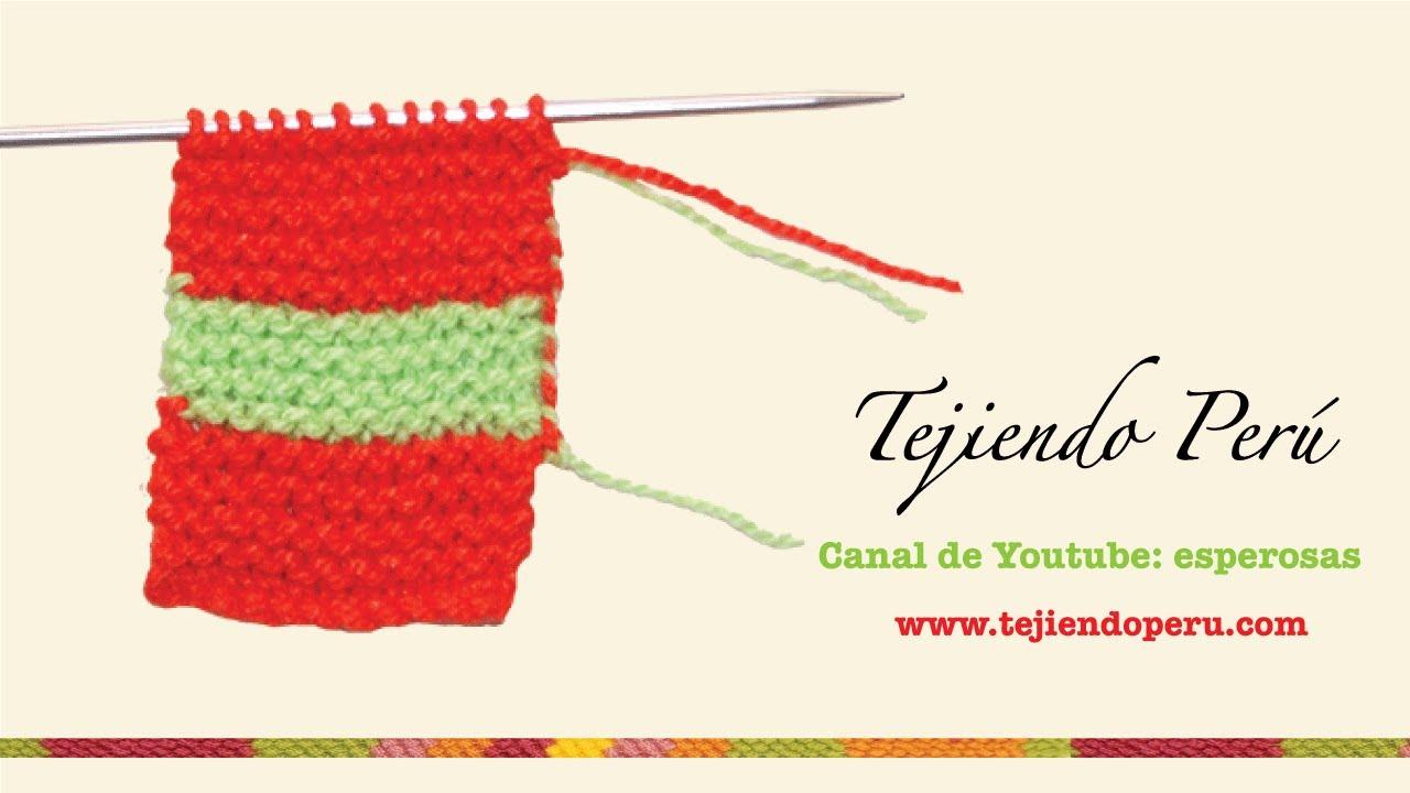 Como cambiar de lana al tejer en dos agujas con 2 colores - YouTube
