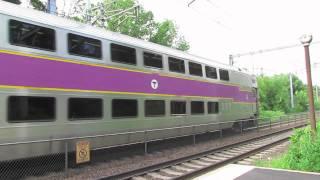 Fast Regional meets MBTA train in Sharon MA.