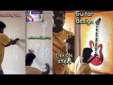 Mural Wall Art Guitar Painting |  Wall Care Putty Texture Design