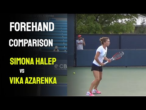 WTA Forehand Comparison, Simona Halep vs Vika Azarenka