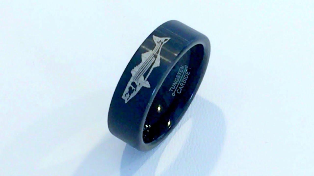 Black Tungsten Ring Wedding Band Custom Fish Engraved Tungsten