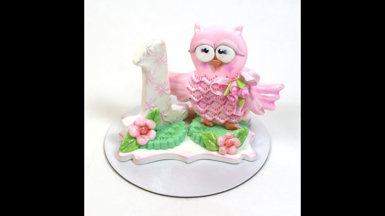 Owl First Birthday Cake Topper Youtube