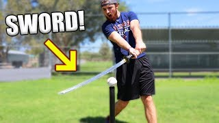How Far Can A Ninja Sword Hit A Baseball? IRL Baseball Challenge