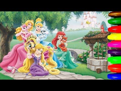 Little Girl Disney Princesses ARIEL,RAPUNZEL,ANNA Coloring ...
