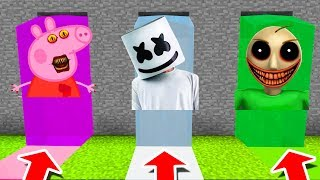 Minecraft PE : DO NOT CHOOSE THE WRONG WATERFALL! (Peppa Pig, Marshmello & Nightmare Baldi)