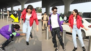 Aww ! Kartik Aaryan looks superb Teaching Deepika Padukone Dance step at Airport as She demands it
