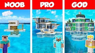 Minecraft Noob Vs Pro Vs God Modern House On Water Build Challenge In Minecraft  Animation
