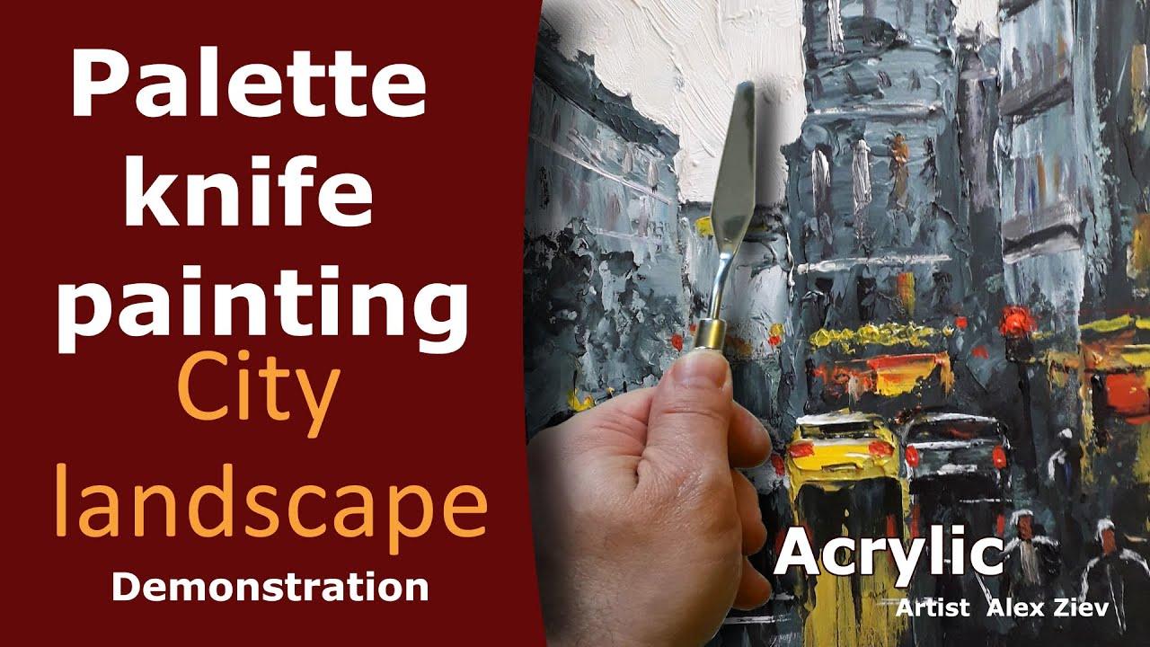 City landscape with a palette knife