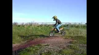 my first jump on my new cobra 50 mini dirt bike