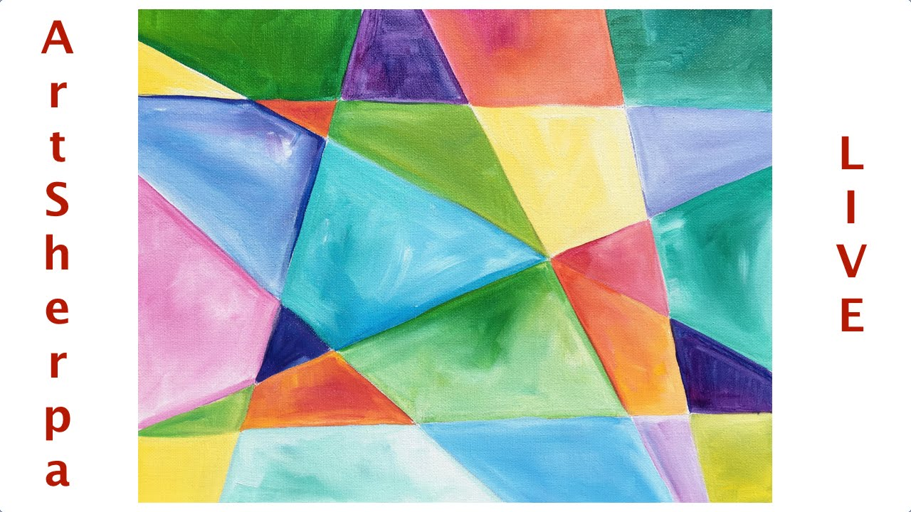 ordinary Easy Abstract Painting Ideas Part - 8: Geometric Beginner Easy Abstract Painting tutorial LIVE Easy canvas Idea