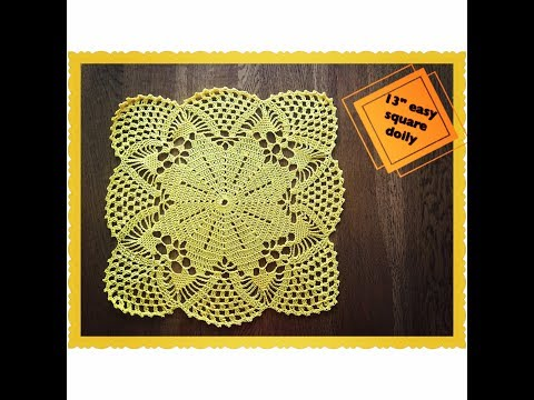 "How to crochet 13"" easy square doily"