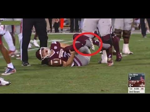 Nick Fitzgerald Injury >> Nick Fitzgerald horrific Injury | Mississippi State vs. Ole Miss Highlights - YouTube